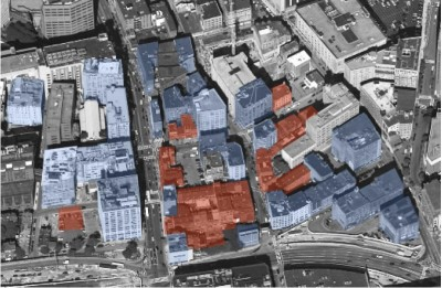 The distribution of garment buildings (blue) and Chinatown buildings (brown) circa 1930. Diagram by Randall Imai.